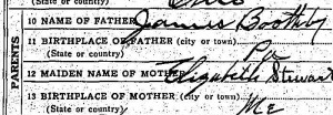 Collins Boothby death certificate