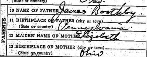 Edward Boothby's death certificate
