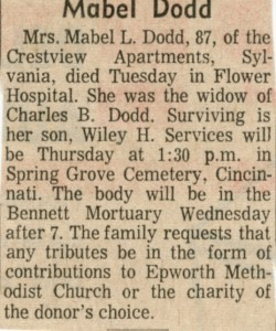 Mabel Dodd obituary
