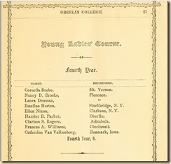 Oberlin 1853 Seniors