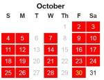 25 x 25 calendar